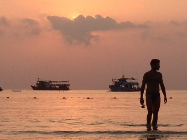 Sebastien with Koh Tao beach sunset