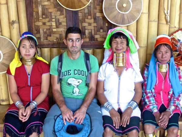 Stefan and the Kayan long necked women at Inle Lake
