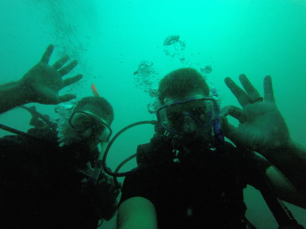 Showing off our scuba diving masks