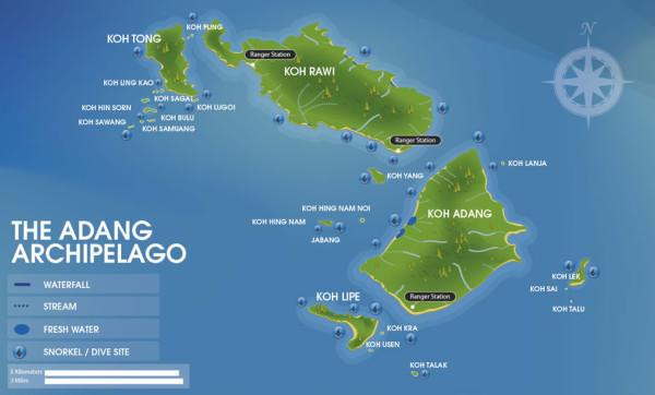 Adang or Tarutao map Adang Archipelago