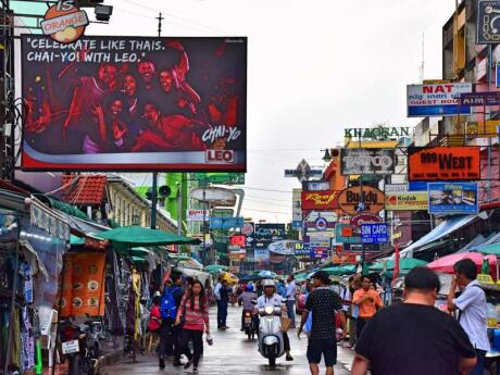 Khao San Road is a crazy busy street in Bangkok filled with shops, stalls, bars and restaurants