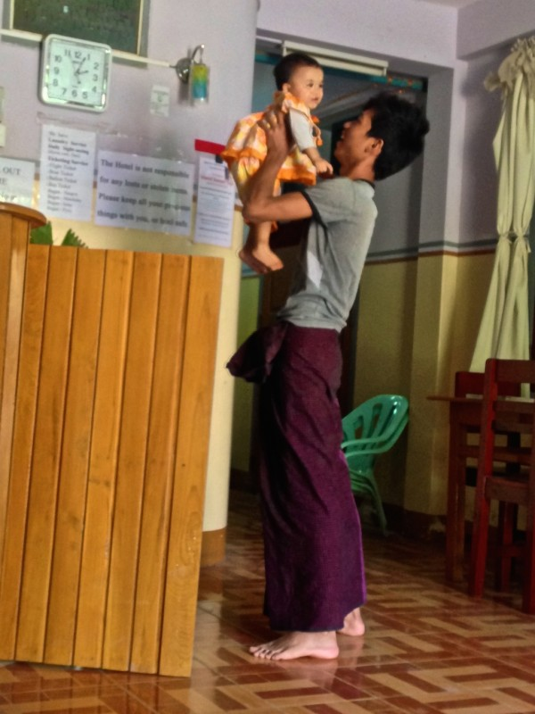 Burmese village boy with lunghi