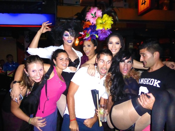 M and Nomadic Boys with drag queens Silom Soi 4 Bangkok
