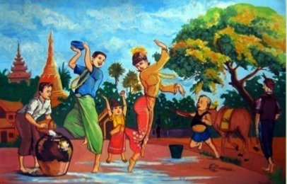 Burmese Thingyan water festival in April