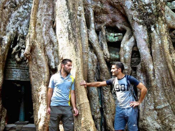 Stefan and Sebastien posing at Ta Prohm