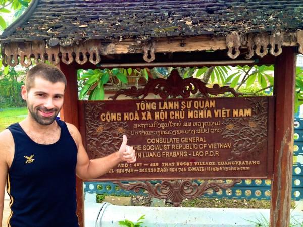 Sebastien at the Vietnamese embassy in Luang Prabang