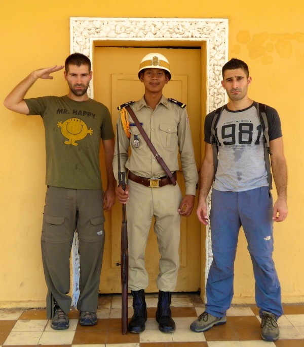 Posing with the guard near the National Museum