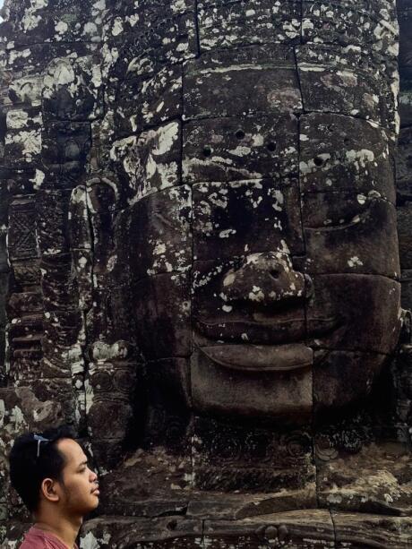 Aaron at the Bayon temple in Angkor Thom