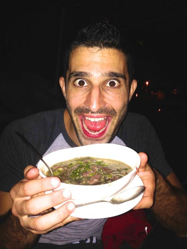 Stefan with tasty buffalo Or Lahm stew