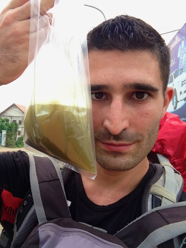 Stefan with bag of sugar cane juice