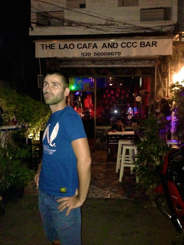 Seb posing at the CCC Bar in Vientiane