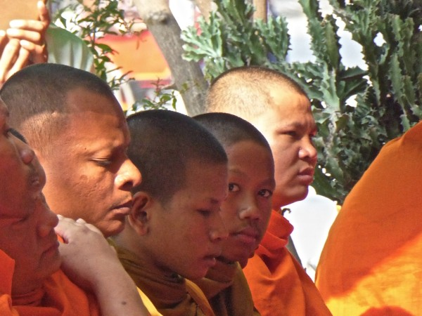 The monks at a Cambodian funeral