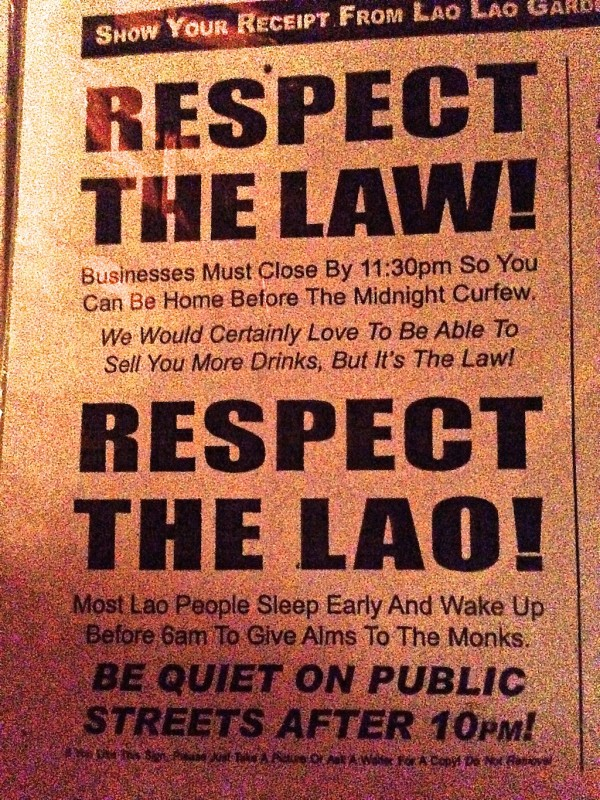 The midnight curfew in Laos
