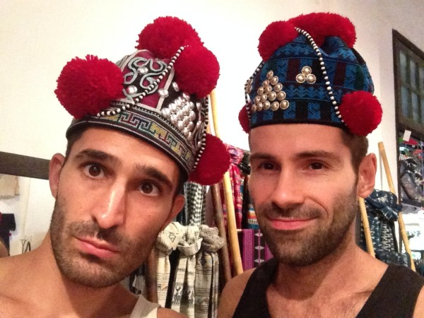 Our Laos ethnic hats selfie