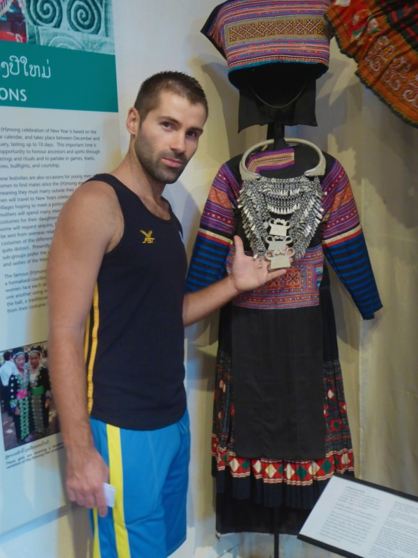Sebastien admiring a dress of the Hmong Du tribe