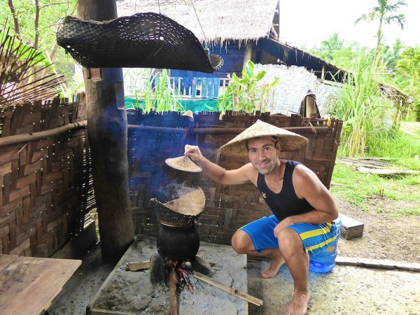 Sebastien steaming the rice