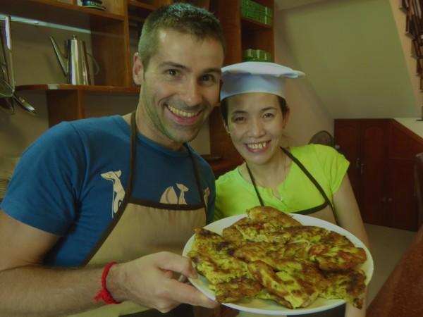 Sebastien with freshly made Vietnamese savoury pancakes: Banh Xeo