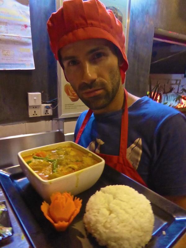 Sebastien cooking a Khmer curry in Siem Reap
