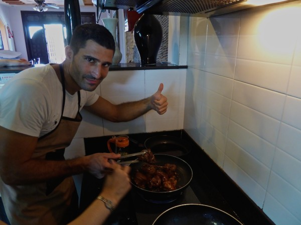 Stefan cooking the pork for the Cao Lau