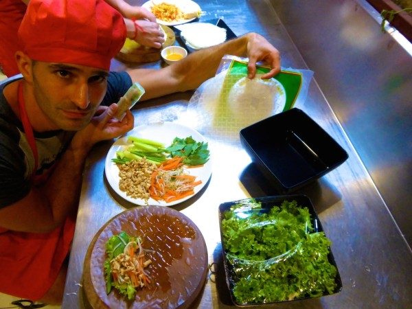 Stefan with ingredients for fresh spring rolls