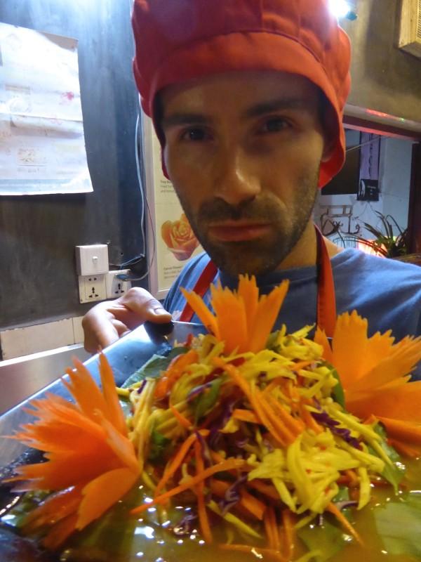 Sebastien with Khmer mango salad