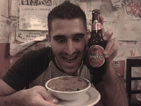 Stefan with Angkor beer and fish amok
