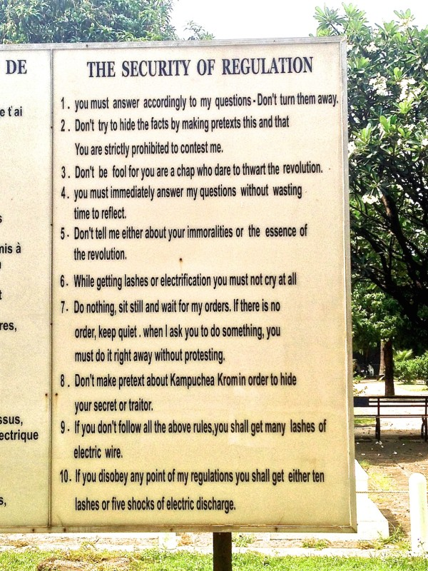 Translated sign of rules at the S21 prison