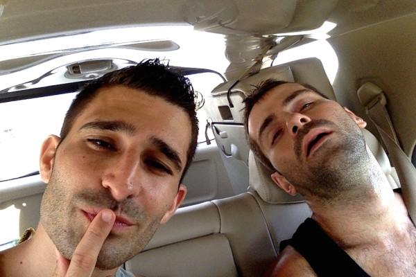 Sebastien sleeping in our taxi