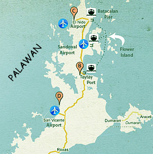 Map of North Palawan Island