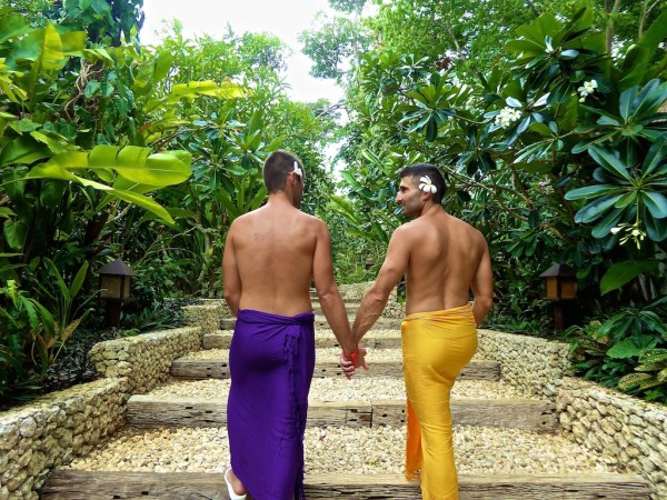 Gay couple travelling in Asia Boracay Philippines