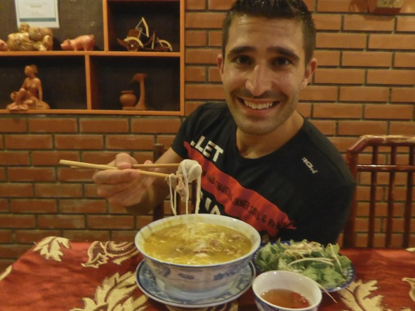 Stefan trying bun bo hue
