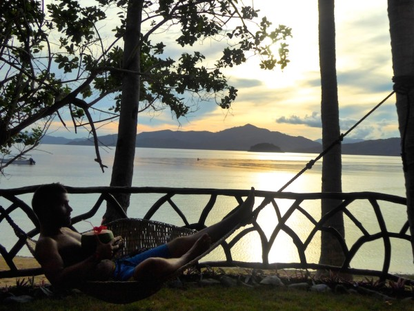 The hammock in our private front balcony area