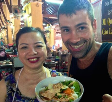 Sebastien with mi quang noodles