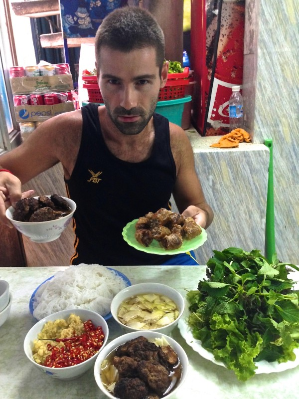 Sebastien preparing his bun cha