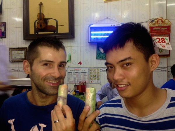 Sebastien and Quan with fresh spring rolls
