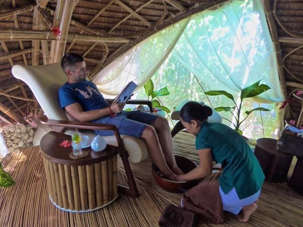 Sebastien enjoying a foot massage at Mandala Spa