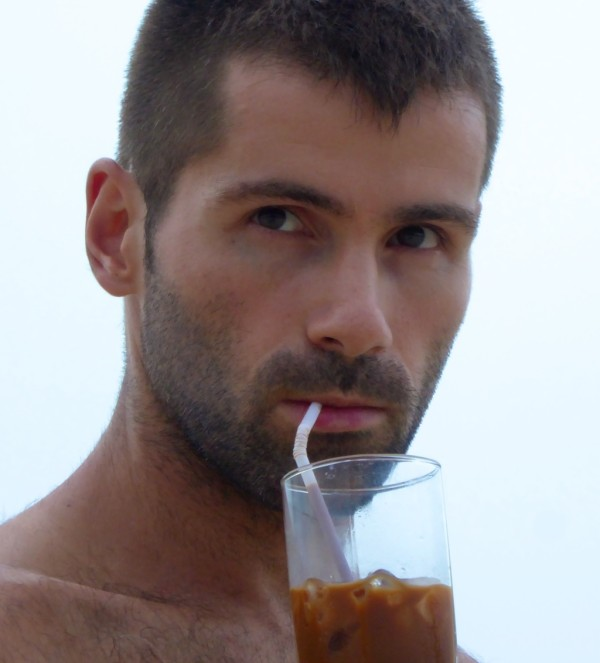 Sebastien enjoying an iced coffee
