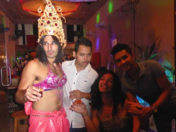 Stefan dressed up at Two Colours gay bar