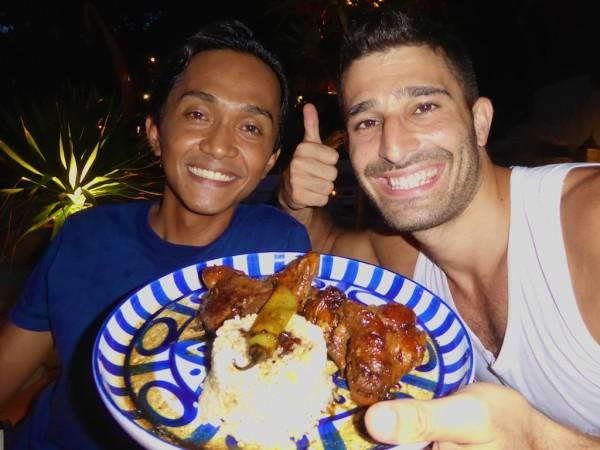 Stefan and Ryan cooking Filipino chicken adobo