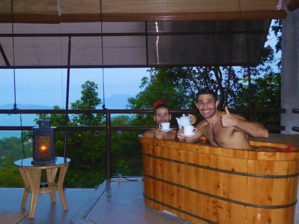 Our wooden bath in our outdoor room at gay friendly Ambong Ambong