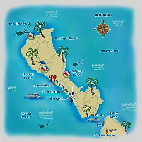 Map of Boracay island and Bulabog beach