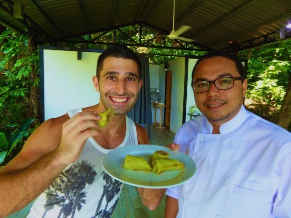 Stefan with pandan pancakes