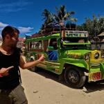 Sebastien posing with jeepney in Palawan
