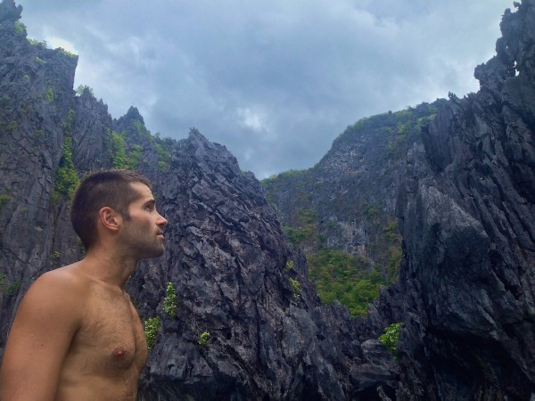 Sebastien admiring the stunning limestone karsts scenery around The Small Lagoon