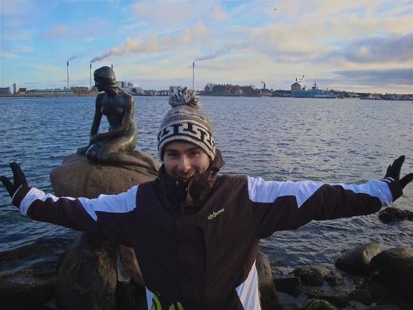 Seb inspired to swim like a mermaid by the Little Mermaid statue in Copenhagen