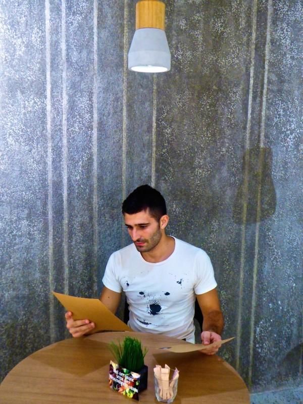 Stefan ordering breakfast at Little Nap restaurant