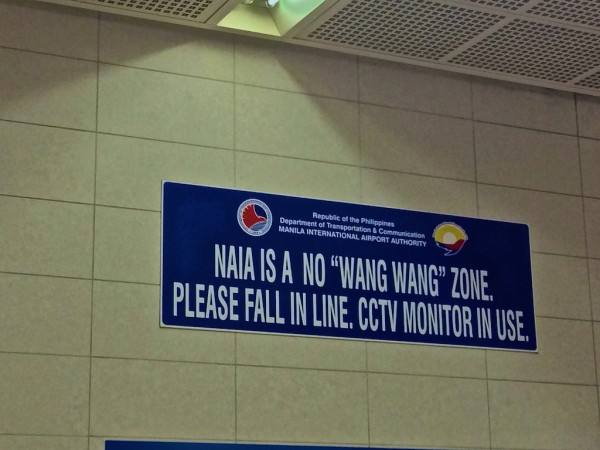 A No Wang Wang sign at Manila airpor