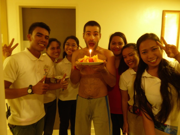 Sebastien celebrating his birthday on Boracay with ferra hotel