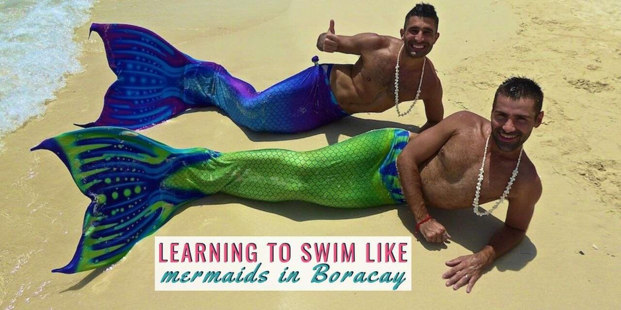Nomadic Boys learning to swim like a mermaid at Boracay