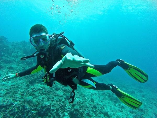 Seb scuba diving in El Nido